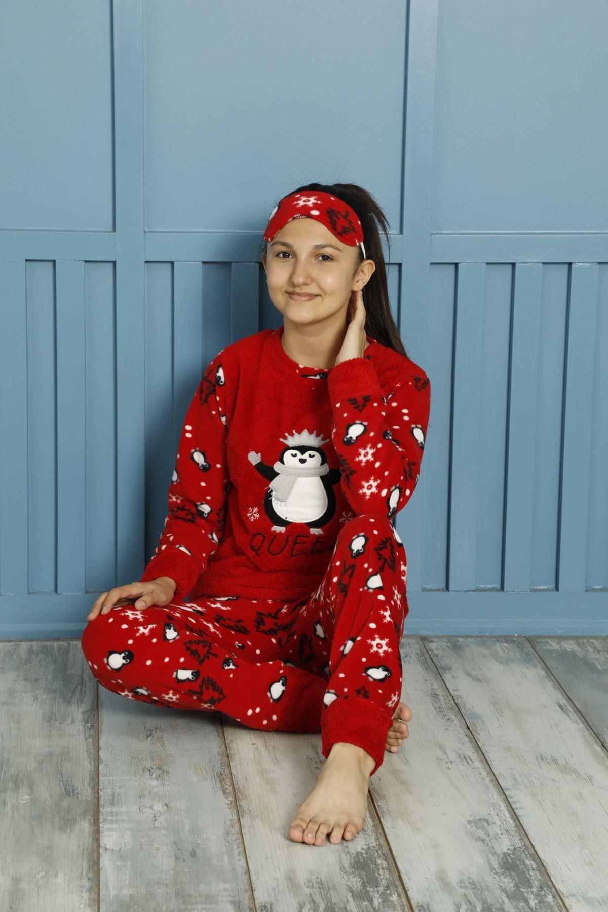 Kız Çocuk Kırmızı Desenli Kışlık Polar Pijama Takımı 5F-20087K