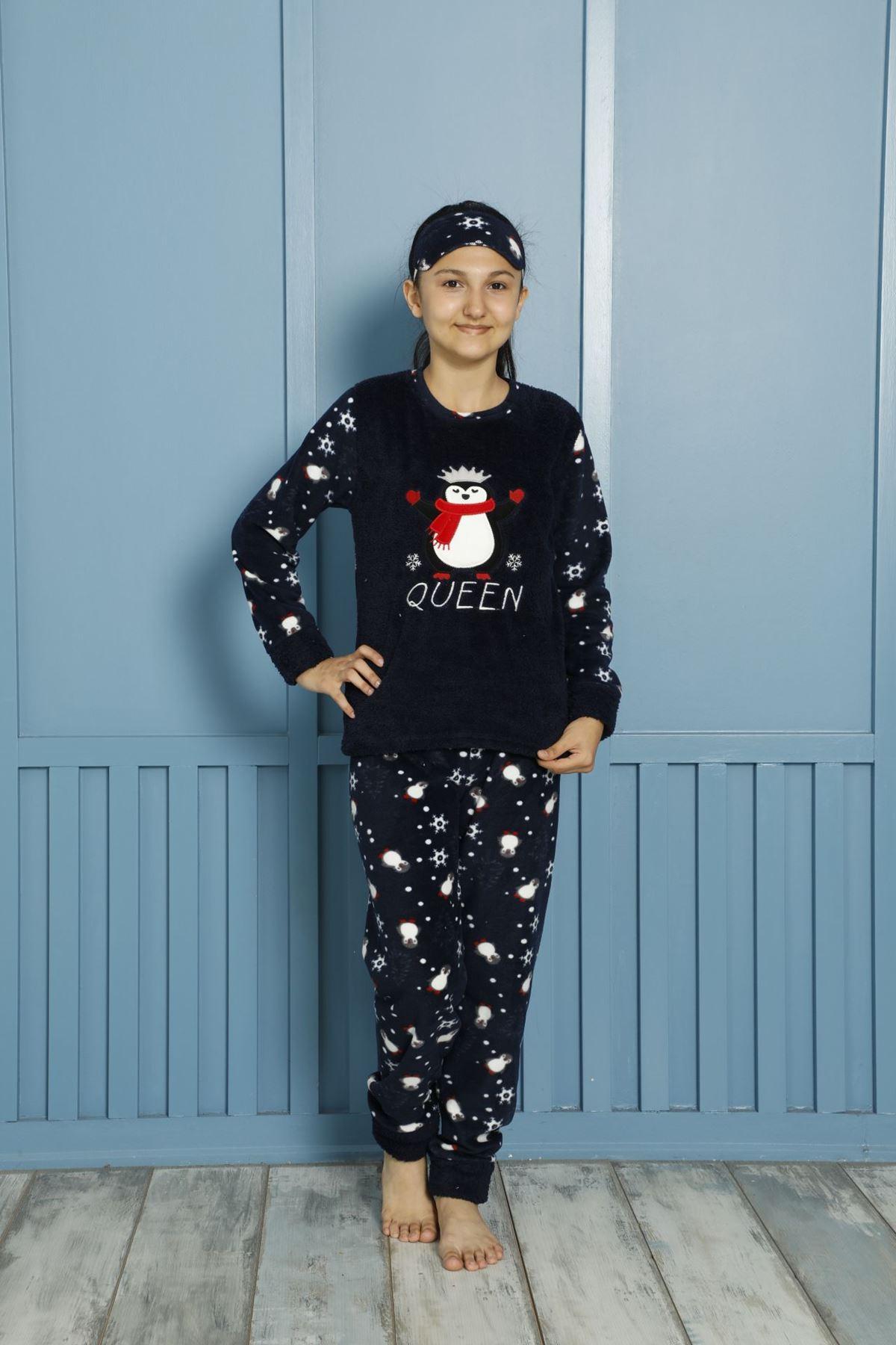 Kız Çocuk Lacivert Desenli Kışlık Polar Pijama Takımı 5F-20087