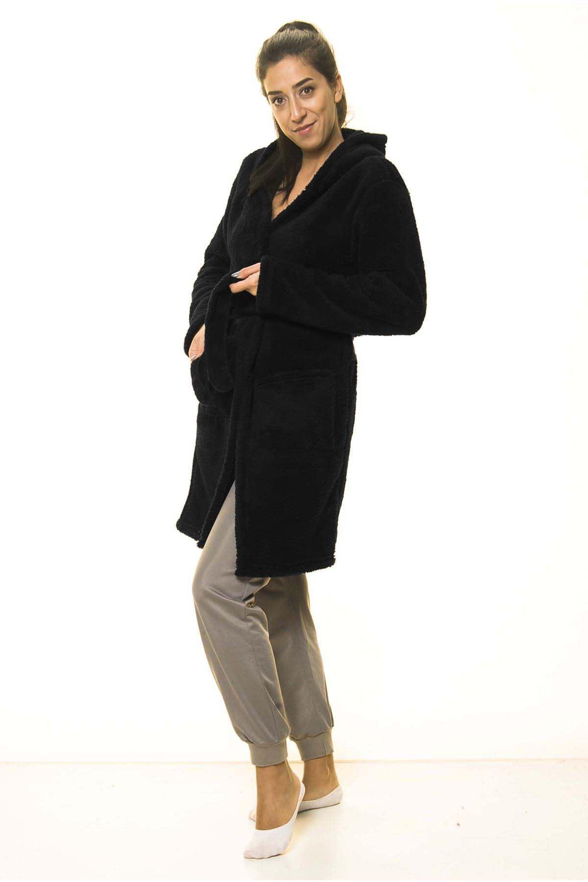 Siyah Cepli Peluş Kışlık Sabahlık 18D-4061