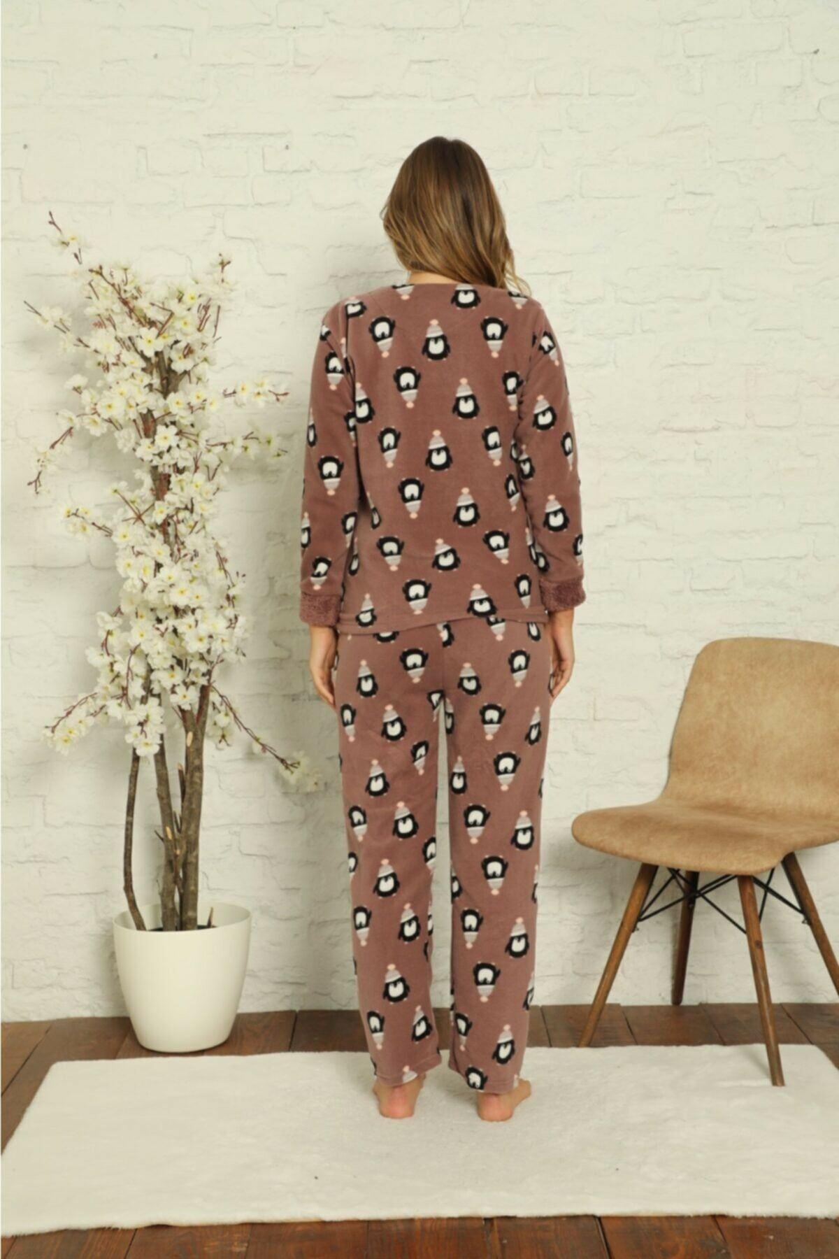 Kadın Desenli Kışlık Polar Pijama Takımı 2F-1851-1