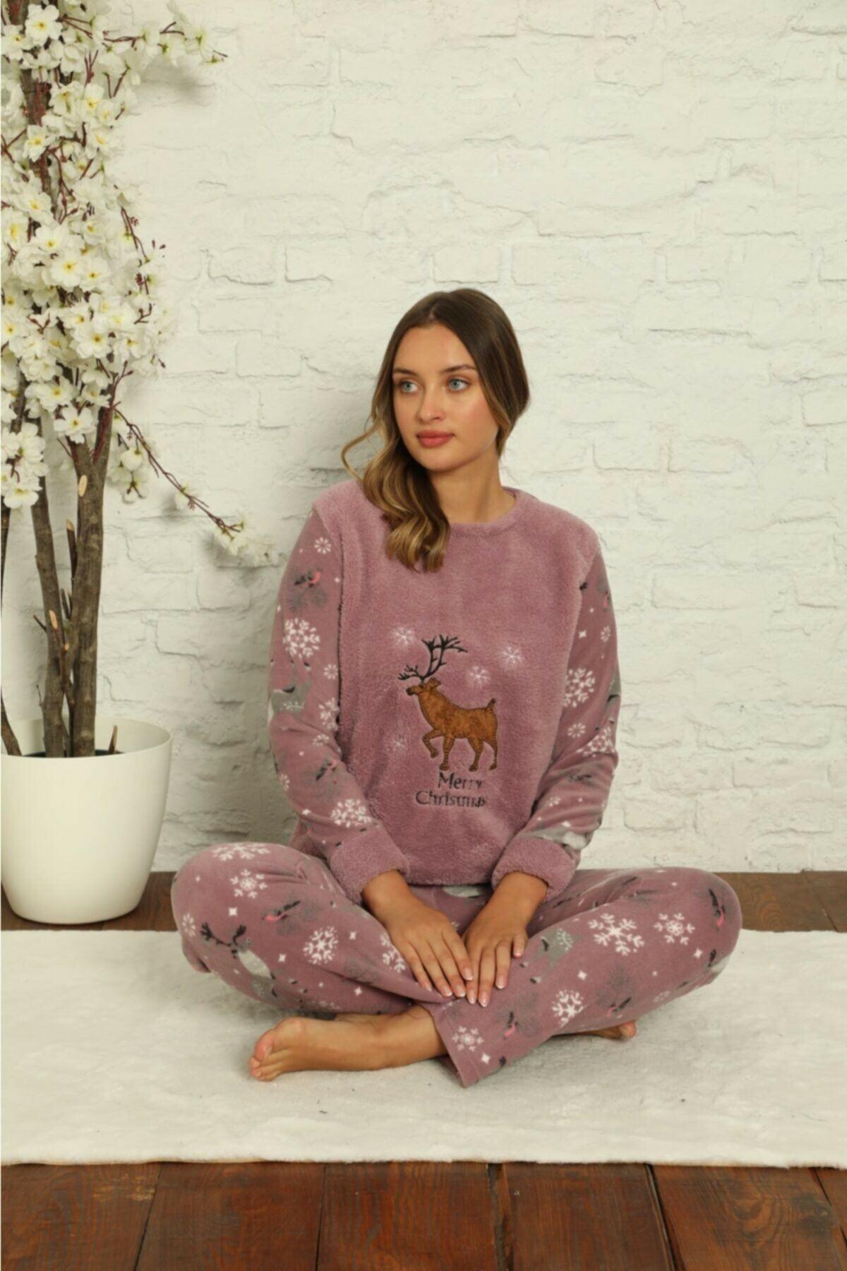 Kadın Desenli Kışlık Polar Pijama Takımı 2F-1852-1