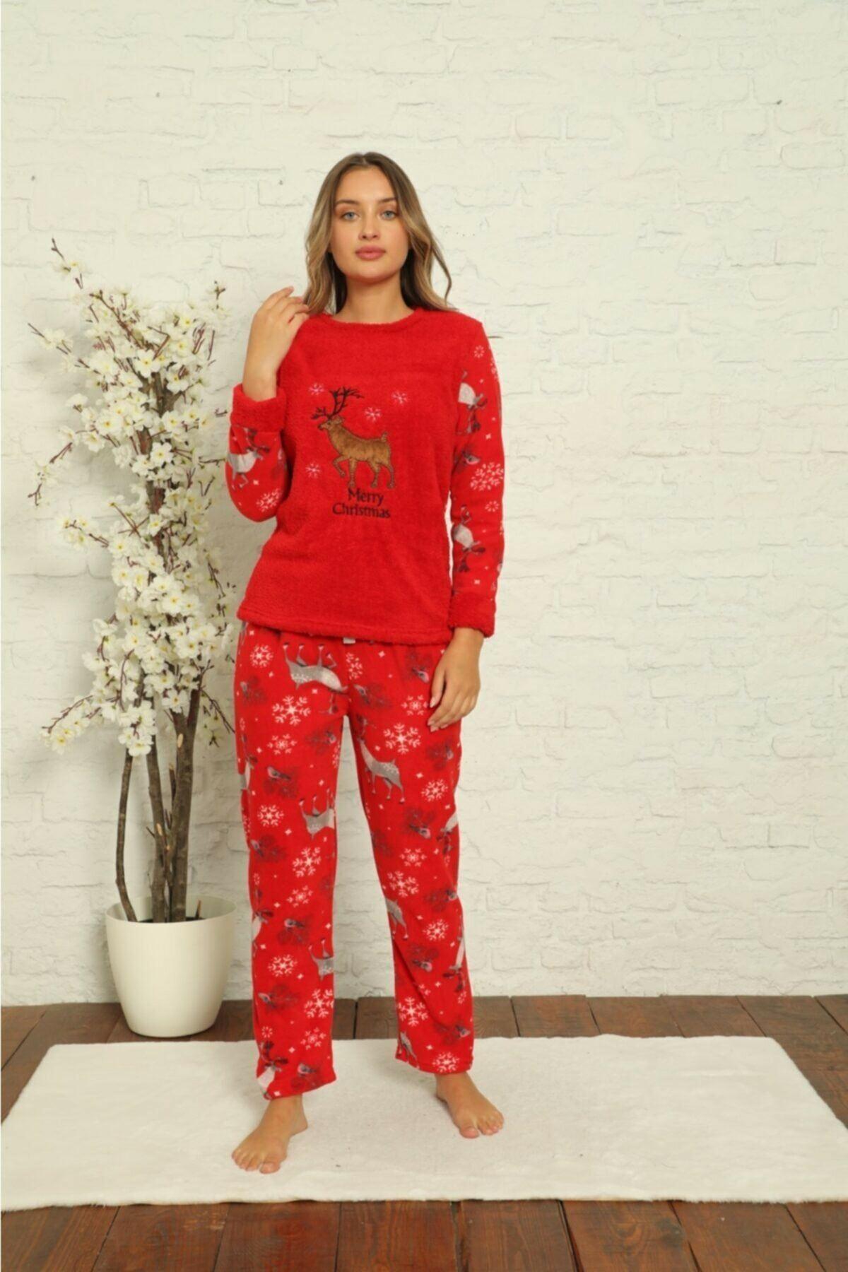 Kadın Desenli Kışlık Polar Pijama Takımı 1F-1852-2